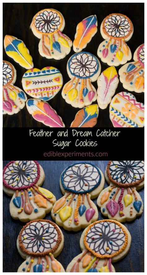 How to make feather and dream catcher sugar cookies, iced with royal icing and using cookie cutters you probably already have on hand.