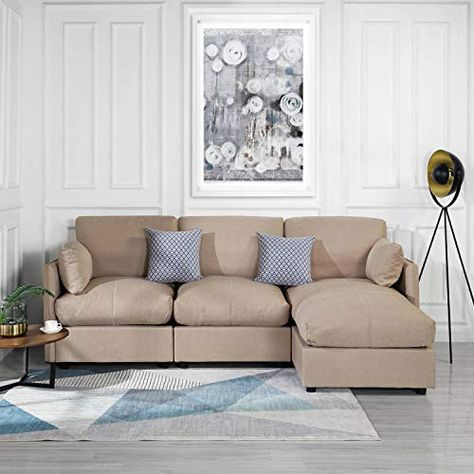 Beige Upholstered Linen Sectional Sofa Couch Modern L Shape