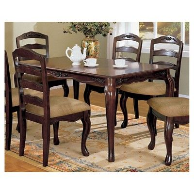 Floral Accented 60 Dining Table Wood Dark Walnut Furniture Of America Dining Furniture Solid Wood Dining Set Dining Table