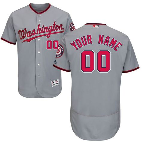 434dd6155 Washington Nationals Majestic Road Flex Base Authentic Collection Custom  Jersey - Gray