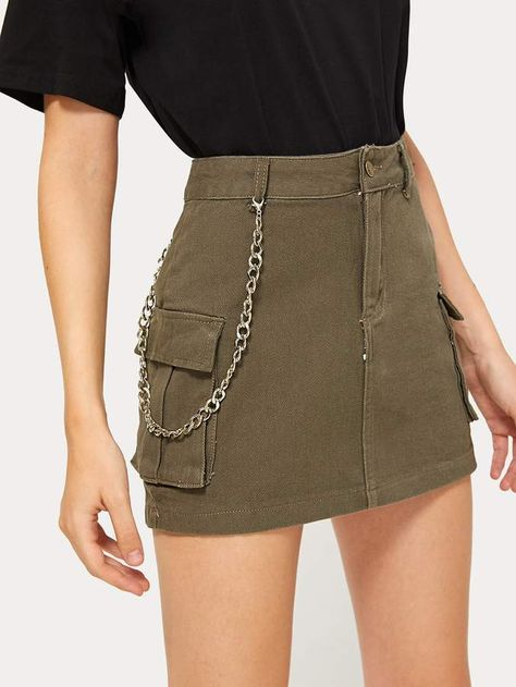 Shein Button Waist Dual Pocket Denim Skirt
