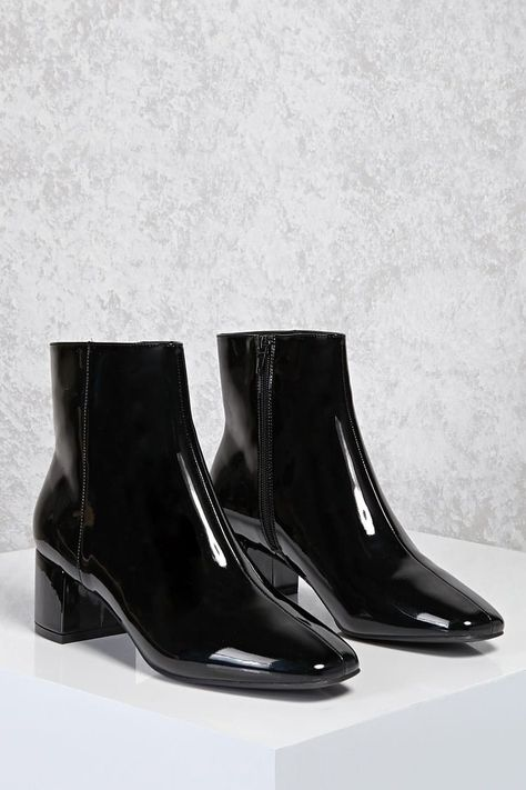 Product Name:Patent Faux Leather Ankle Boots, Category:Shoes, Price:34.9