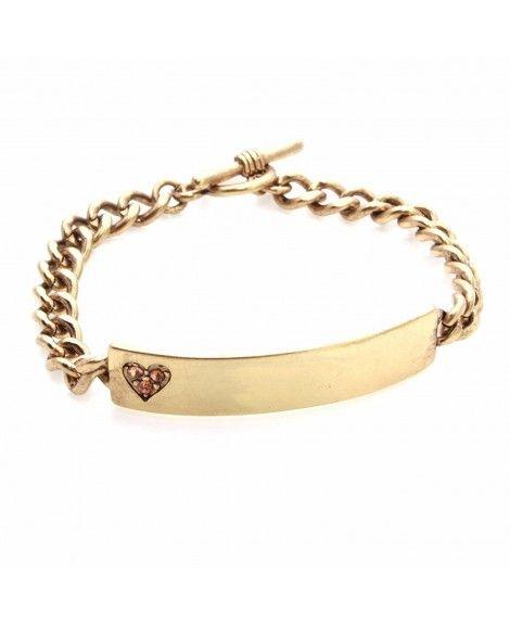 American Rag Gold-Tone Engraved Heart ID Bracelet: Jewelry