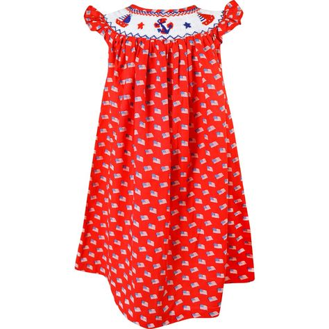 Girls 4th July Independence Day Patriotic American Flag Hand Smocked Bishop Dress - 6 - 7 Years