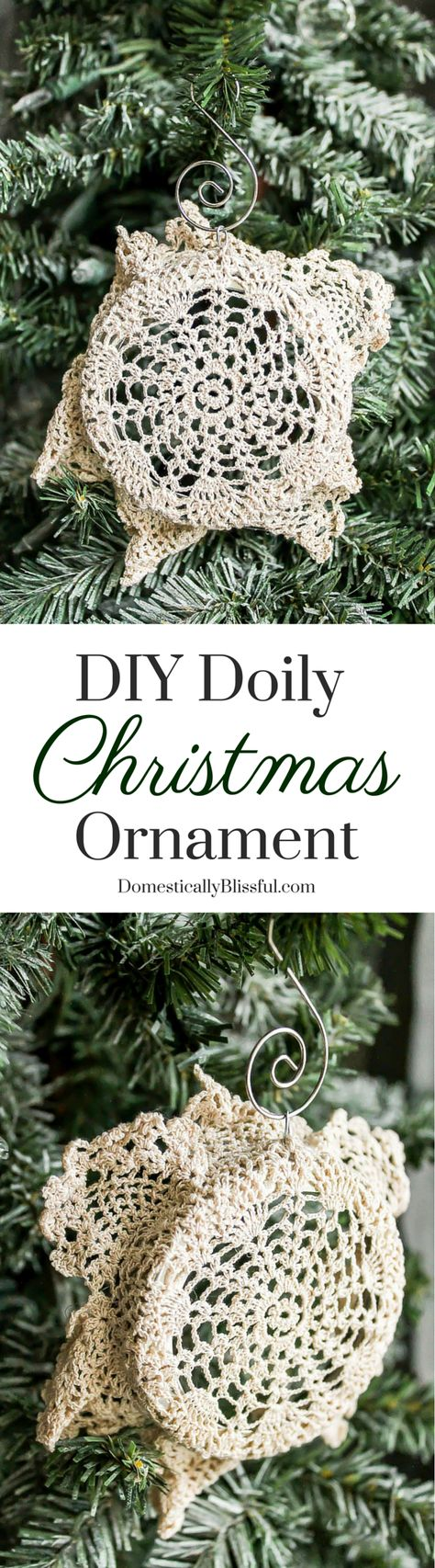 This DIY Doily Christmas Ornament is a beautiful way to repurpose & recycle items to create a beautiful new Christmas ornament filled with memories.