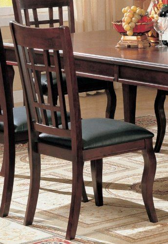 Incredible Coaster 100502 Side Chairs Cherry Finish Black Vinyl Seats Gmtry Best Dining Table And Chair Ideas Images Gmtryco
