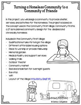 Project Based Learning Activity Plan A Community For The Homeless Project Based Learning Stem Project Based Learning Learning Activities