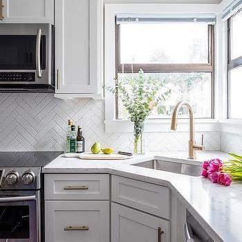 Corner Kitchen Sink Under Two Windows Corner Sink Kitchen Kitchen Remodel Farmhouse Sink Kitchen