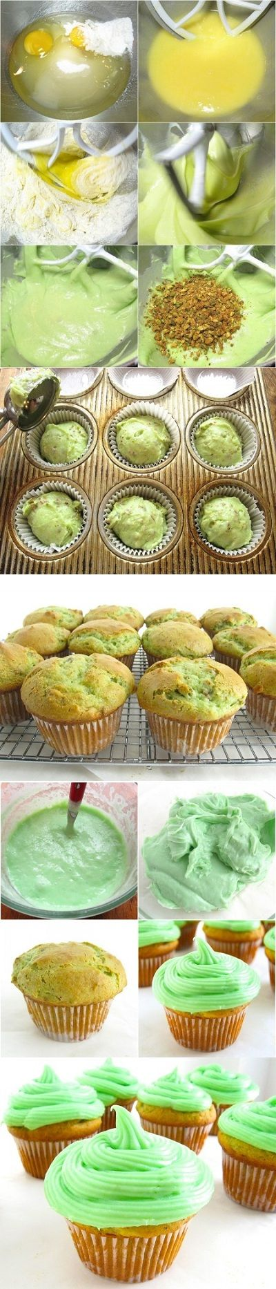 Pistachio Cupcakes-these look delicious!!!! I'd eat them just for the way they look! #cupcakes @shannaminish89 @jcweddell713