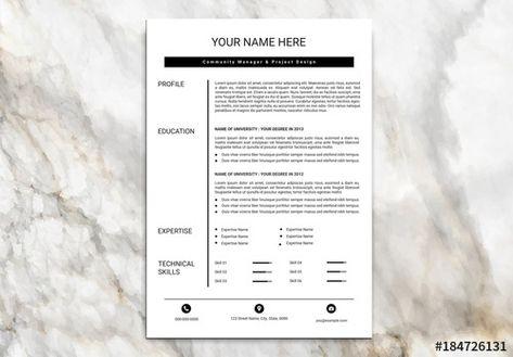 Stock Template Of Minimalist Resume Set With Black Header Bar