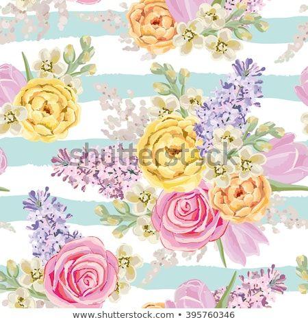 Mazzo Di Fiori Vector.Spring Bouquets On The Striped Background Vector Seamless Pattern