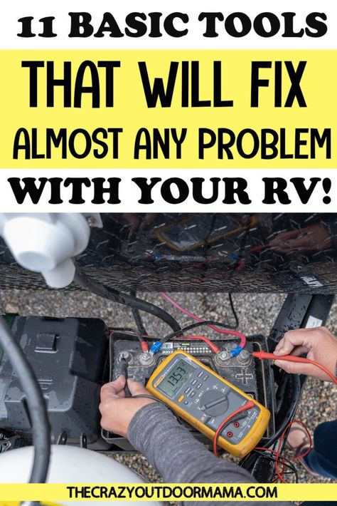 9 Basic Tools Every RV'er Needs to Carry in their RV Toolbag! – The Crazy Outdoor Mama - So you bought your first travel trailer, got the must haves. but what about the RV tools you need - Camping Must Haves, Camping Needs, Camping Tools, Camping Supplies, Camping Stove, Camping Life, Camping Equipment, Camping Hacks, Camping Gear