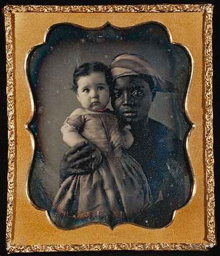 Nurse and child, hand-colored daguerreotype  c.1850