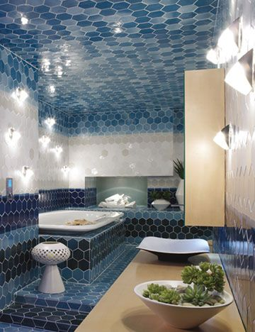 Custom Tiles Evoked The Horizon Of A Mediterranean Seascape In Our