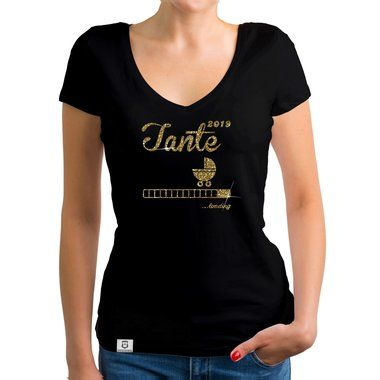 Mama 2019 loading Damen T-Shirt V-Ausschnitt Schwanger Mutter Baby Glitzer