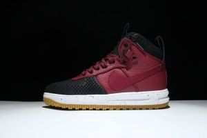 086701a03054 Mens Nike Lunar Force One 1 Duckboot Boot Black Team Red White Gum 805899  002 Running Shoes