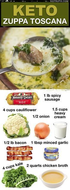 Low Carb Zuppa Toscana (7 Easy Keto Soup Recipes) By simply replacing the potatoes with cauliflower, this soup is naturally low carb. The bacon really kicks it up a notch! {500 calories, 7 net carbs, 37g fat, 28g protein} - Looking for healthy keto and low carb soup recipes? This Zuppa Toscana is made with cauliflower instead of potatoes, and packed full of flavor! (6 additional keto soup recipes here, too!) #soup #keto #lowcarb #instrupix