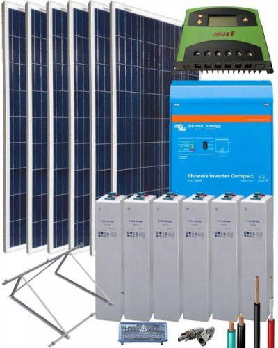 Kit Solar Fotovoltaico Aislada 2000w 12v 4500whdia Con Imagenes Energia Solar Electricidad Y Electronica Energia