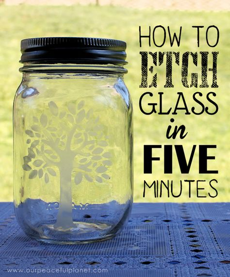 How to Etch Glass in 5 Minutes is part of Crafts with glass jars - We'll show you how to etch glass and create beautiful designs on almost any type of glass in just a few minutes You'll be surprised how easy it is! Etched Mason Jars, Pot Mason, Mason Jar Gifts, Mason Jar Diy, Etched Glass, Diy Glass Etching, Glass Etching Stencils, Crafts With Glass Jars, Glass Bottle Crafts