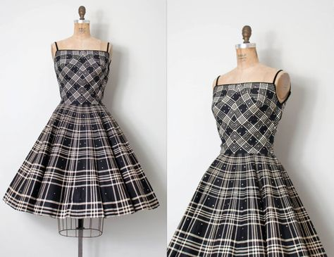 vintage 1950s dress   black and white plaid 50s dress   Junior Accent d29939ef327