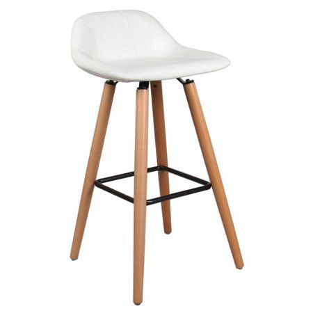 Buy Faux Leather Bar Stool With Beech Wood Legs Moustache From