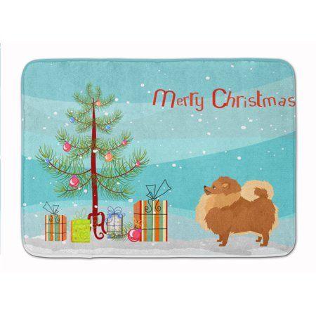 Pomeranian Christmas Tree Machine Washable Memory Foam Mat