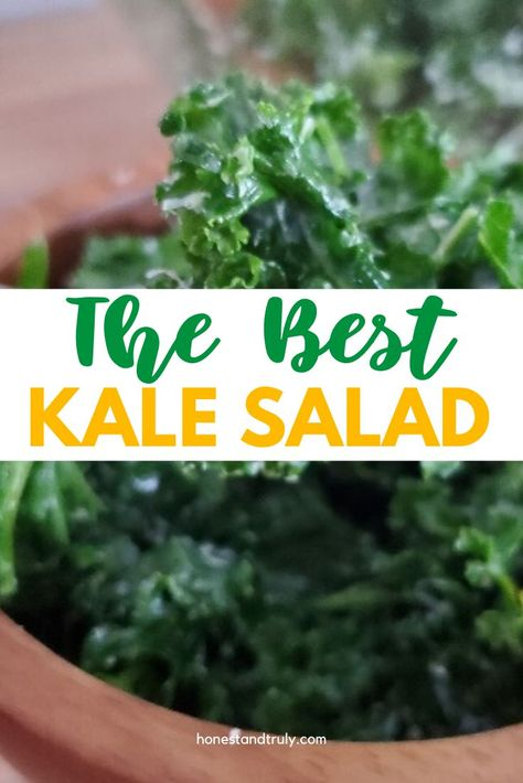 Make the BEST kale salad recipe tonight. In under 10 minutes, you can have a fantastic and healthy side salad with a ton of flavor and none of the guilt. This will change your opinion on kale forever, and it's gluten free, too! #best #kalesalad #healthy #sidedish #glutenfree #kale