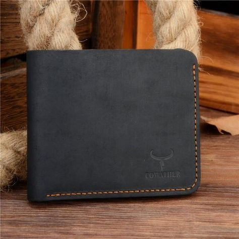 COWATHER Crazy horse leather men wallets Vintage genuine leather wallet for men cowboy top leather thin to put free shipping - black cross