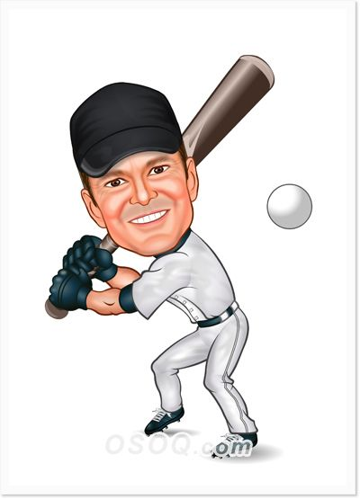 Baseball Batter Caricature Caricature Caricature Artist Custom Cartoons