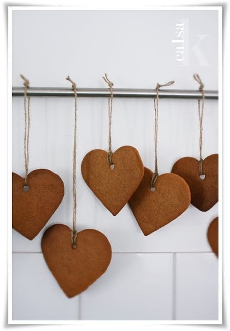Gingerbread hearts on a string!