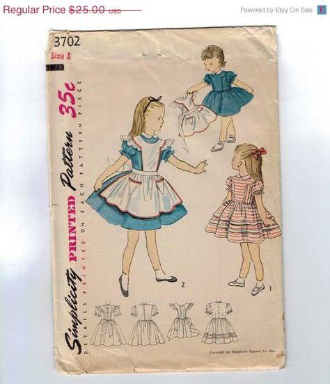 1950s Vintage Girls Sewing Pattern Simplicity 3702 Alice in Wonderland