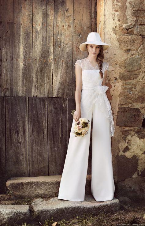 Nouvelle façon de s'habiller pour un mariage #mariage #2018 #bonheur #love #couple #mariée #mode #tenue #bb #wedding #blanc #mariée #pantalon #collection2018