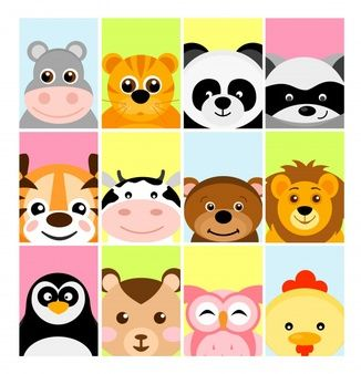 Illustration Of Adorable Cute Baby Animals On Color Backgrounds For Banner Flayer Placard For Children Cute Baby Animals Cartoon Animals Baby Animals