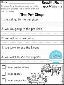 Free Fix It Up Sentences With Images Kindergarten Writing