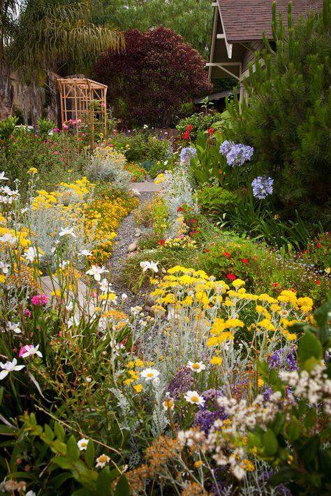 pretty flower garden cottage garden ideas Try The English Cottage Garden Style English Garden Design, Cottage Garden Design, English Country Gardens, Nature Aesthetic, Garden Shrubs, Dream Garden, Rain Garden, Garden Paths, Garden Arbor