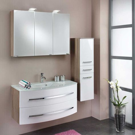 Badezimmermöbel Set mit Doppelwaschtisch Eiche dunkel (4-teilig - badezimmermöbel villeroy und boch