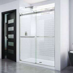 Dreamline Essence 56 To 60 In X 76 In Semi Frameless Sliding Shower Door In Brushed Nickel Shdr 6360760 04 The Home Depot In 2020 Shower Doors Frameless Shower Doors Frameless Sliding Shower Doors