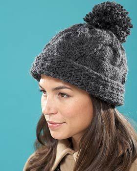 Bernat Roving - Pompom Souffle Hat (free knitting pattern)