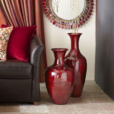 36 Inch Bamboo Tall Floor Vase Brown Globe Overstock Items