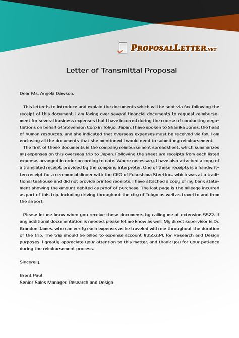 Get yout letter of transmittal proposal to be impeccable by - example letter of transmittal