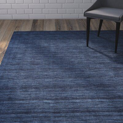 Mercury Row Carbonell Handmade Tufted Wool Dark Blue Area Rug In 2020 Dark Blue Rug Area Rugs Blue Area Rugs