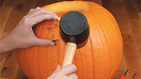 cute idea! carve pumpkins with cookie cutters and a mallet. i bet a star one would look super adorable.