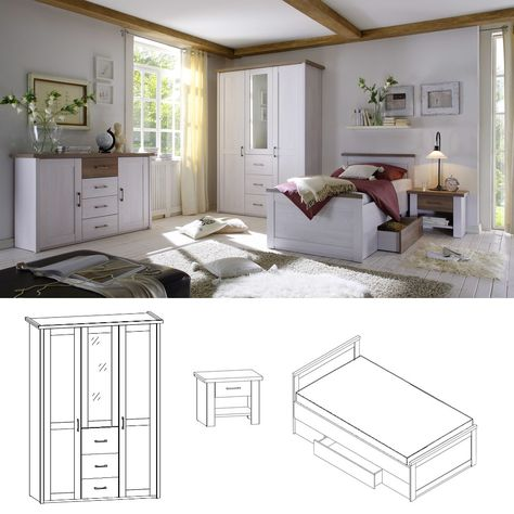 Schlafzimmer Set Luca Pinie Weiß 3tlg. Bett 100x200 cm online ...