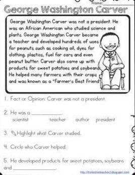George Washington Carver Reading Passage En 2020 Numero Ingle Primaria Gramatica Inglesa Essay