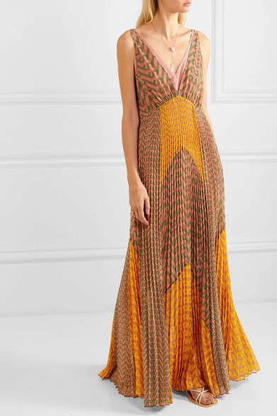Self Portrait Pleated Printed Crepe Maxi Dress Orange Sponsored Aff Printed Pleated Portrait Maxi Dress Dresses Pleated