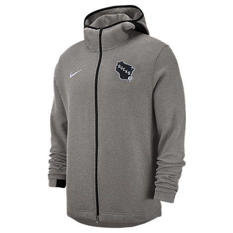 Nike Men S Milwaukee Bucks Nba Dri Fit Showtime Full Zip Hoodie Grey Nike Cloth Hoodies Nike Men Full Zip Hoodie