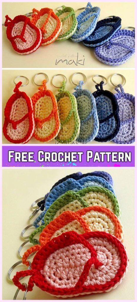 Crochet Flip Flop Keychain Free Patterns Video Crochet Flip
