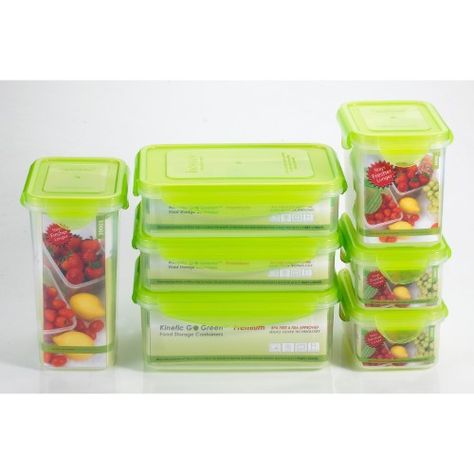 Kinetic Go Green Fresh 14 Piece Rectangular Food Storage Container Set With Lid Glass Food Storage Storage Containers Food Storage Containers