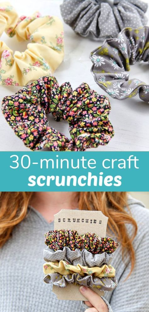 30-Minute Craft: Handmade Scrunchies in the color of your choice. #scrunchy #hair #DIY #handmade