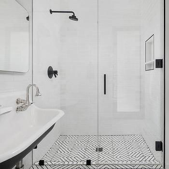 Black And White Geometric Floor Tiles Shower Design Boys Bathroom Hospital Interior Design